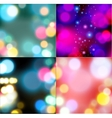 Set of backgrounds with bokeh lights vector image
