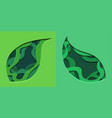 set of green 3d tree leaf cut out from paper vector image