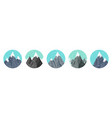 set snowy mountains in flat style winter rocky vector image