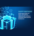 shine gift box happy birthday banner vector image