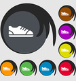 shoe icon sign Symbols on eight colored buttons vector image vector image