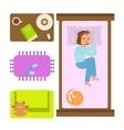 Sleeping woman in Bedroom vector image