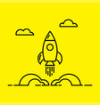 space rocket launch line icon vector image vector image