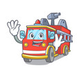 waving fire truck character cartoon vector image vector image