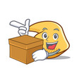 with box fortune cookie character cartoon vector image