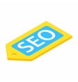 Yellow SEO label isometric 3d icon vector image vector image