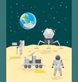 cartoon astronauts on moon surface landscape vector image