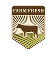 Nature fields retro farm label organic food vector image
