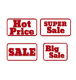 set of red sale stamps hot price promotion vector image