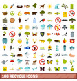 100 recycle icons set flat style vector image vector image