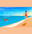 a young woman is standing on seashore vector image vector image