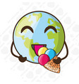 adorable earth eating ice cream vector image