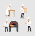 bakery and baker at bakehouse flat design vector image vector image