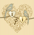 birds and heart vector image