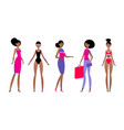 black woman in different styles clothes vector image