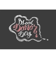 Blood Donor Day Lettering text vector image