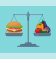 burger and vegetables balance on the scale vector image vector image