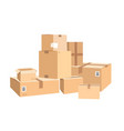 cardboard boxes in different sizes packages vector image