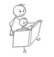 cartoon of father and son reading a book together vector image vector image