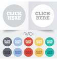 Click here sign icon Press button vector image vector image