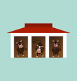 cows inside the barn vector image