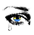 Crying eye with flag of Ukraine vector image
