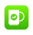 cup of tea icon digital green vector image vector image