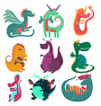 cute funny dragon characters set cchildish vector image vector image