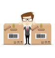 Delivery man with a box vector image vector image
