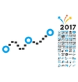 Dotted Chart Icon With 2017 Year Bonus Symbols vector image