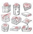 gift boxes hand drawn vector image