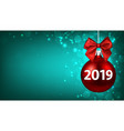 green 2019 new year background with red christmas vector image