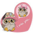 greeting card cute dreaming owl vector image
