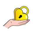 hand holding padlock vector image