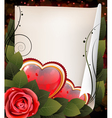 Hearts rose and parchment Valentine card vector image vector image
