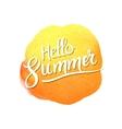 Hello summer lettering on watercolor blot vector image vector image