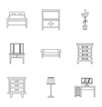 Home furniture icons set outline style vector image vector image