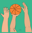 international hands reaching for basketball vector image