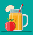 jar with apple smoothie with striped straw vector image vector image