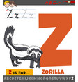 letter z from alphabet with cartoon zorilla vector image vector image
