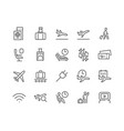 line airport icons vector image