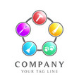 logo with five different symbol icons vector image