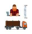Lumberjack and truck icons vector image vector image