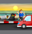 man throwing a trash on street vector image vector image