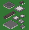 microchip computer isometric chip vector image vector image