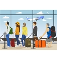 Passengers in queue waiting check-in counters vector image