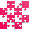 pink puzzle pieces - jigsaw - field for chess vector image vector image