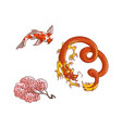 sakura branch blooming dragon koi carp set vector image