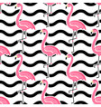 seamless tropical pattern with cute pink vector image