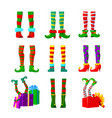 set icons elves legs christmas design elements vector image